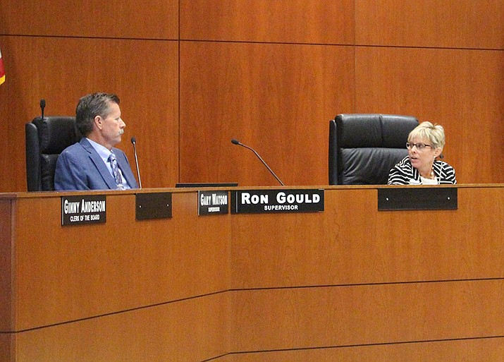 Mohave County supervisors will vote on the possibility of creating a permanent position for a communication director. Chairwoman Hildy Angius thinks it is a good idea; Supervisor Ron Gould disagrees. (Photo by Agata Popeda/Daily Miner)