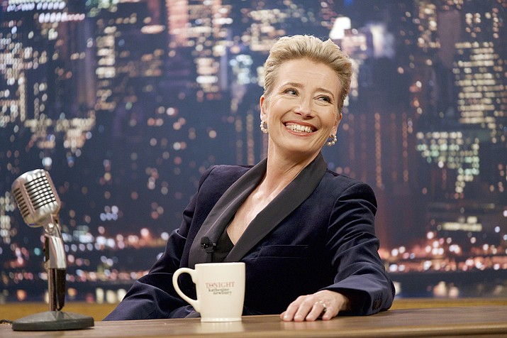 "This image released by Amazon Studios shows Emma Thompson in a scene from ""Late Night,"" as a struggling talk show host. (Emily Aragones/Amazon Studios via AP)"