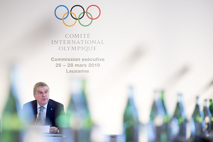 International Olympic Committee (IOC) president Thomas Bach from Germany speaks at the opening of the first day of the executive board meeting of the International Olympic Committee (IOC), in Lausanne, Switzerland, Tuesday, March 26, 2019. (Laurent Gillieron/Keystone via AP)