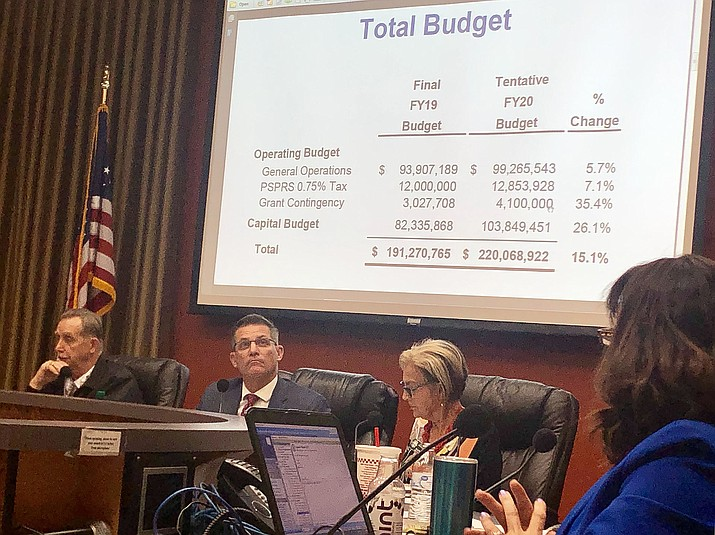 Prescott City Council members deliberate on the 2019/20 fiscal year budget before voting 6-1 for tentative approval on June 11, 2019. The $220 million budget is about 15 percent higher than last year's budget. (Cindy Barks/Courier)