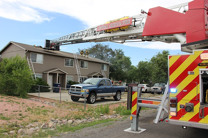 Firefighters work a structure fire in the 3200 block of Tani Road in Prescott Valley Thursday, June 13. (Max Efrein/Courier)