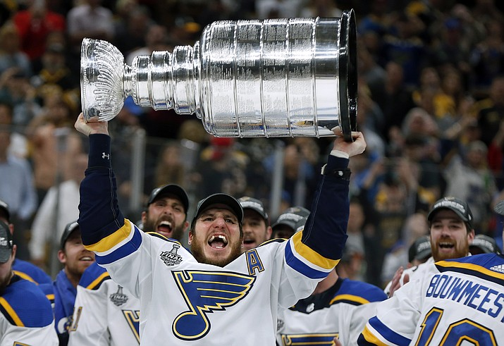 St. Louis Blues' Alexander Steen carries the Stanley Cup after the Blues defeated the Boston Bruins in Game 7 of the NHL Stanley Cup Final, Wednesday, June 12, 2019, in Boston. (Michael Dwyer/AP)