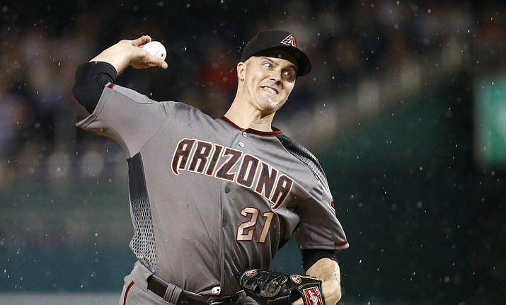 Arizona Diamondbacks starting pitcher Zack Greinke throws to a Washington Nationals batter during the eighth inning of a game Thursday, June 13, 2019, in Washington. (Patrick Semansky/AP)
