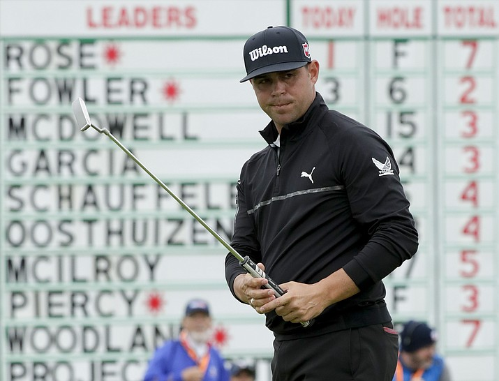 Gary Woodland watches his putt on the sixth hole during the second round of the U.S. Open Championship golf tournament Friday, June 14, 2019, in Pebble Beach, Calif. (Matt York/AP)
