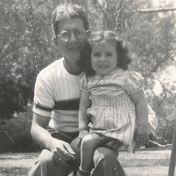 Miner blogger Linda Varon with Dad, about 70 years ago. (Courtesy)