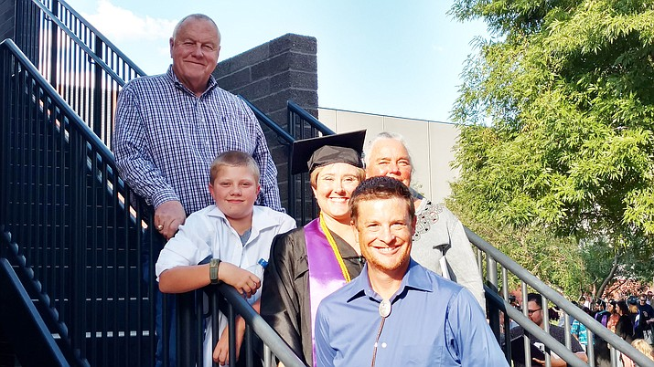 Tim Carter, counter clockwise from top, with grandson Skyler Vorpahl, daughter Cierra McMahon and husband Kevin McMahon, and Carter's wife, Linda, at Cierra's graduation with her bachelor's degree from Grand Canyon University. (Tim Carter/Courtesy)