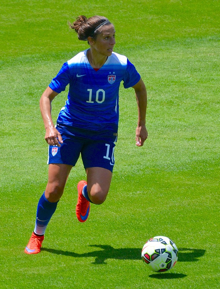 Carli Lloyd playing for the U.S. Women's National Team in San Jose, California on May 10, 2015. Lloyd scored two goals Sunday as the U.S. women beat Chile 3-0 and advanced to the Round of 16 in the Women's World Cup. (Noah Salzman, cc-by-sa-4.0, https://bit.ly/2MRtOjZ)