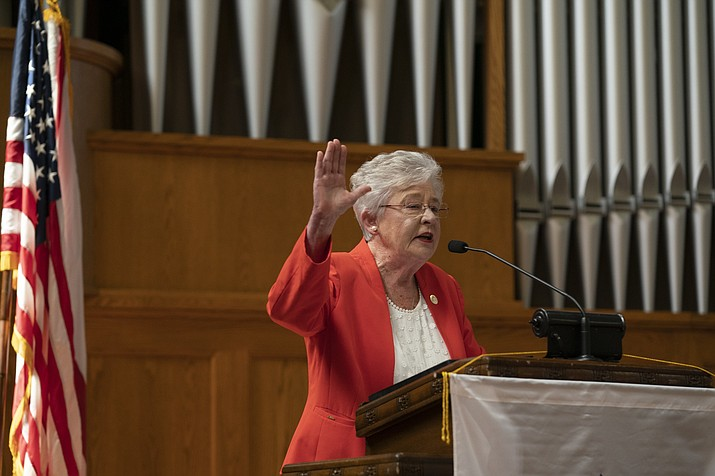 "Alabama Gov. Kay Ivey addresses the audience at Girls State 269 on June 13, 2019. Ivey has signed legislation that will force some sex offenders to undergo ""chemical castration. (Alabama Office of the Governor photo)"