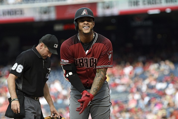 Arizona Diamondbacks' Ketel Marte celebrates his home run during the fourth inning against the Washington Nationals, Saturday, June 15, 2019, in Washington. (Nick Wass/AP)