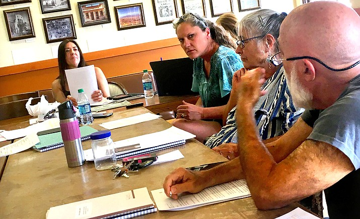 The Jerome Town Council discusses the future of parking in town at a noon-time meeting of the Jerome Council at the town offices Thursday. VVN/Vyto Starinskas