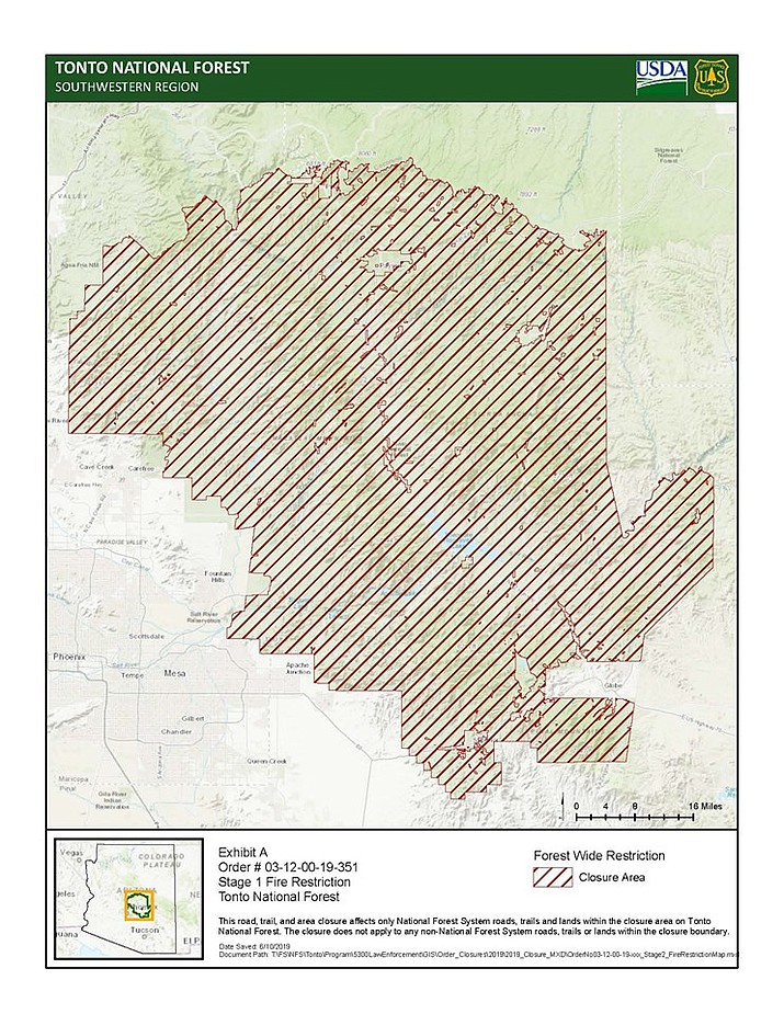 A map shows the area in which fire restrictions have been implemented in the Tonto National Forest east of metro Phoenix. (Tonto National Forest/Courtesy)