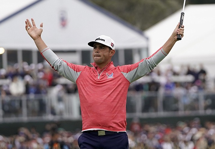 Gary Woodland celebrates after winning the U.S. Open Championship Sunday, June 16, 2019, in Pebble Beach, Calif. (David J. Phillip/AP)