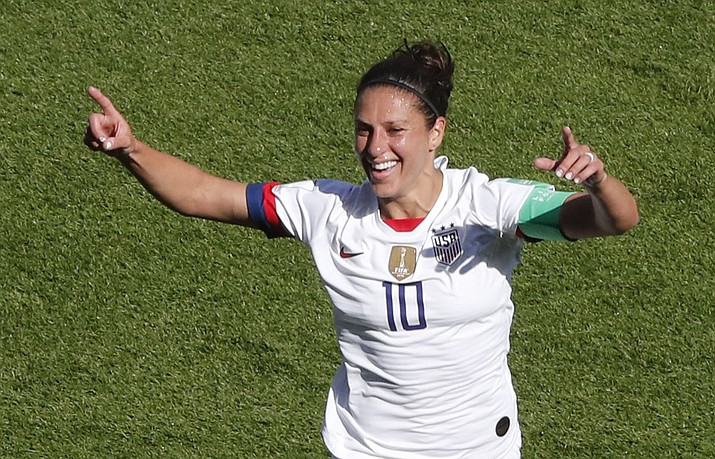 United States' Carli Lloyd celebrates after scoring the opening goal during the Women's World Cup Group F match between the United States and Chile at the Parc des Princes in Paris, Sunday, June 16, 2019. (Thibault Camus/AP)