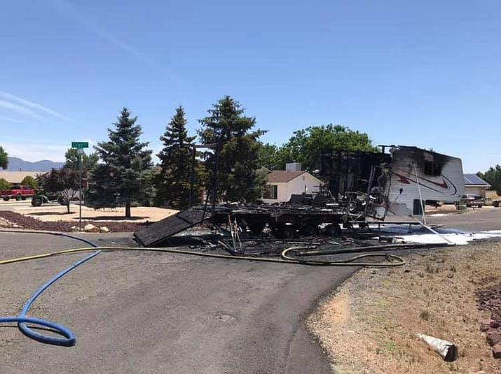 A toy hauler RV trailer was destroyed by fire in Prescott Valley Monday, June 17. (Central Arizona Fire and Medical Authority/Courtesy)