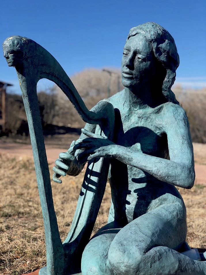 """The Harpist"" by John Waddell. Waddell has sculpted over 150 life size and small bronze figurative sculptures as well as paintings and drawings."