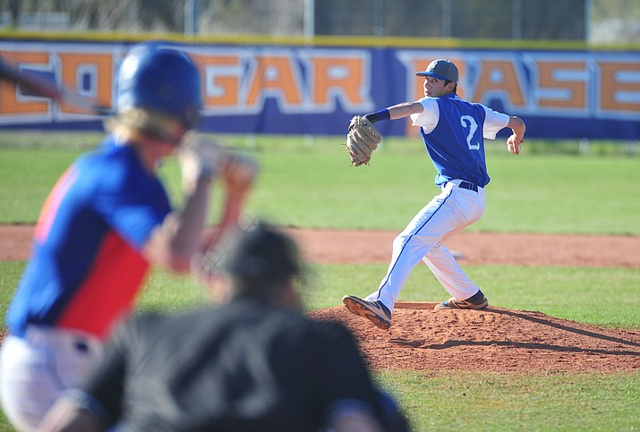 Bagdad's Tony Ventura delivers a pitch as the Sultans face the Chino Valley Cougars Friday, March 29 in Chino Valley Valley. Ventura was chosen as Player of the Year by The Daily Courier as part of its Spring 2019 All-Courier team selections. (Les Stukenberg/Courier, file)