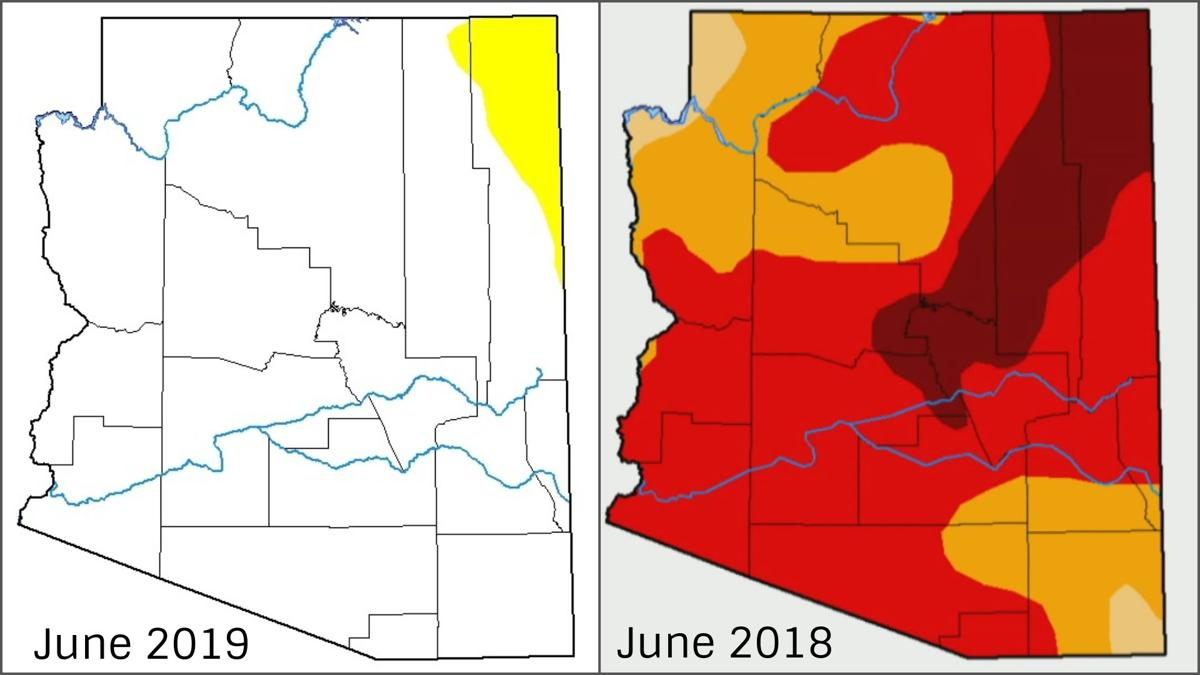 Map shows Arizona free of short-term drought