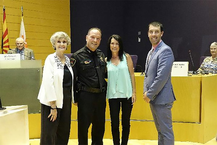 The Prescott Valley Town Council honored Police Chief Bryan Jarrell at the council meeting June 13 on his retirement after five and a half years in the community. From left are Vice Mayor Lora Lee Nye; Jarrell; his wife, Tina Jarrell; and Mayor Kell Palguta. (Heidi Dahms Foster/Courtesy)