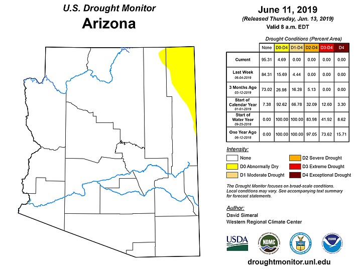 Map shows Arizona free of short-term drought | The Daily