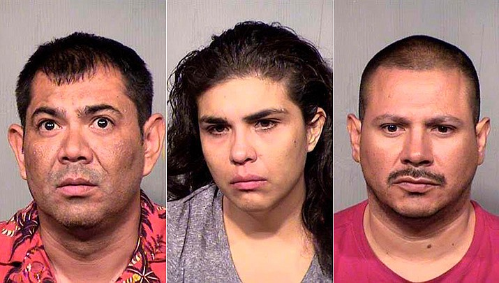 Edwin Radames Veliz-Flores, left, Ines Helena Acosta, middle, and Roberto Yescas were indicted Wednesday, June 19, 2019, on several charges including offer to sell or transfer a narcotic drug. Detectives recovered two larges packages containing approximately 14,000 pills laced with fentanyl in their possession, which has an estimated street value of $154,000. (Arizona Attorney General's Office/Courtesy)