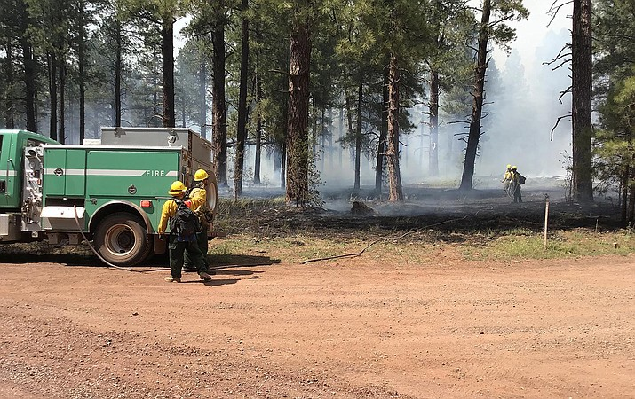 Fire personnel monitoring specific large hots spots with a water hose line on the Sunflower Prescribed fire June 18. (USFS/photo)