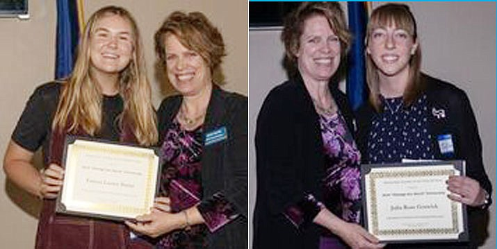 LEFT: Emma Burns (left) receives her $1,000 DWPA scholarship from board member Judy Stahl. RIGHT: Julia Goswick (right) receives her $1,000 DWPA scholarship from board member Judy Stahl. (Stephanie Brown/Courtesy)