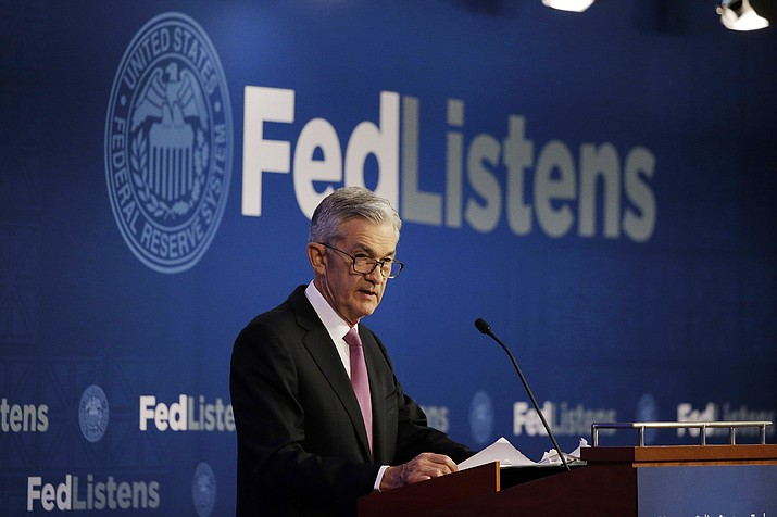 In this June 4, 2019, file photo Federal Reserve Chairman Jerome Powell speaks at a conference involving its review of its interest-rate policy strategy and communications in Chicago. On Wednesday, June 19, the Federal Reserve released its latest monetary policy statement and updated economic projections. (Kiichiro Sato/AP, File)