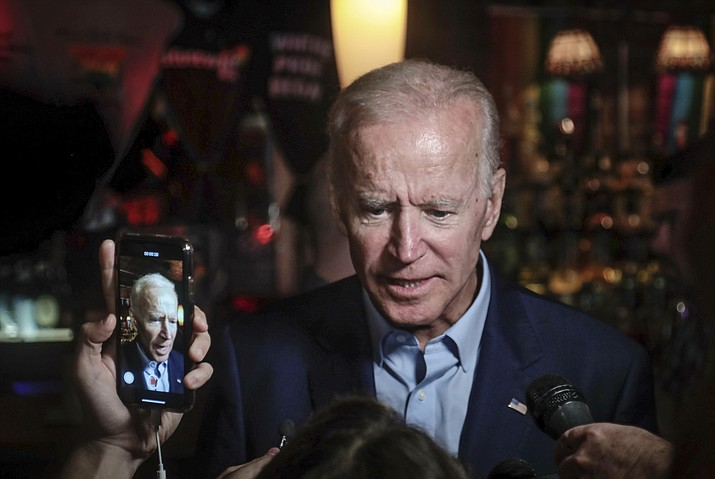 Former Vice President and 2020 Democratic presidential candidate Joe Biden addresses patrons and media during a visit to the Stonewall Inn, Tuesday, June 18, 2019, in New York. Biden paid a visit to the Stonewall Inn ahead of the 50th anniversary of an uprising that helped spark the gay rights movement. (Bebeto Matthews/AP)