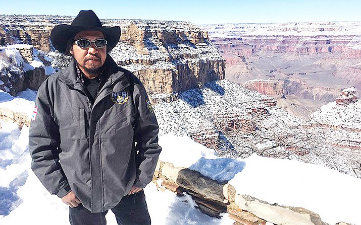 "Havasupai Tribal Council Member Claudius Putesoy told Cronkite News in February that contaminated water affects his day-to-day life. ""I'm a rancher and I hike a lot of cattle up here and it affects most of the water down there in Supai."" (Photo by Lillian Donahue / Cronkite News)"