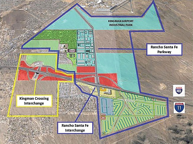 Rather than annex the airport or the area around Kingman High School, the City is now looking at annexation of properties surrounding the sites of the Interstate 11 interchange projects. (Courtesy file photo)