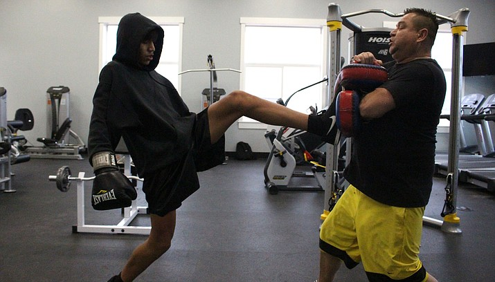Adam Hines trains last year. He will fight for the super welterweight Junior Amateur IKF of Arizona State Title on Saturday in Cottonwood. VVN/James Kelley