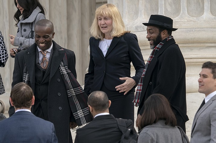 Attorney Sheri Johnson leaves the Supreme Court on March 20, 2019, after challenging a Mississippi prosecutor's decision to keep African-Americans off the jury in the trial of Curtis Flowers, in Washington. (J. Scott Applewhite/AP, file)