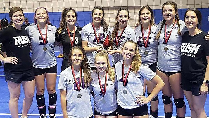 The 18U RUSH volleyball squad poses after taking first place in a tournament in Phoenix. Pictured top row from left, coach Sarah Casson, Brianna Portillo, Lorelei Fernandez, Ashley Sahawneh, Isabel Anderson, Kyla Romeo, Kalyse Whitehead and coach Kyra Williams. Front row from left, Madison Lewis, Mollie King, and Lynsey Day. Not pictured: LaNae Burgess. (Courtesy)