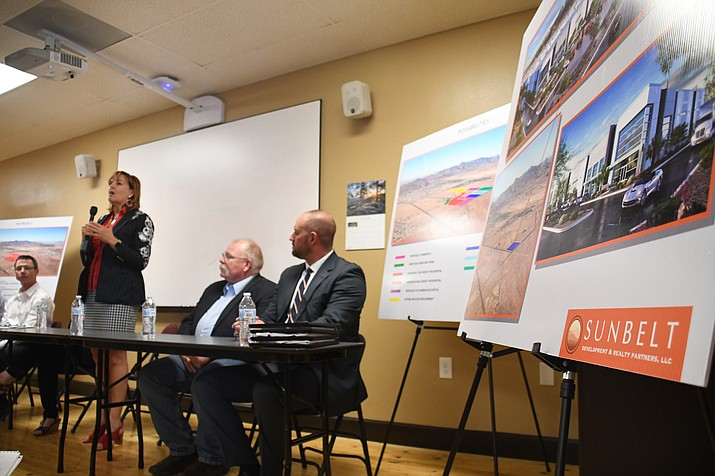 Rep. Regina Cob (R-Kingman) spoke on the $20 million appropriation for the Rancho Santa Fe traffic interchange at a press conference with the City held Thursday, June 20. (Photo by Vanessa Espinoza/Daily Miner)
