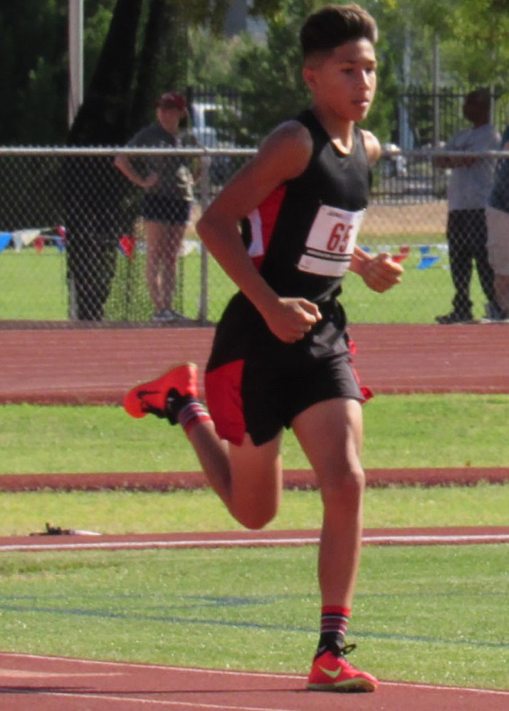Wyatt Pickering running during the Junior Olympic Association Track and Field State Championships at Mesa Community College. (Courtesy)