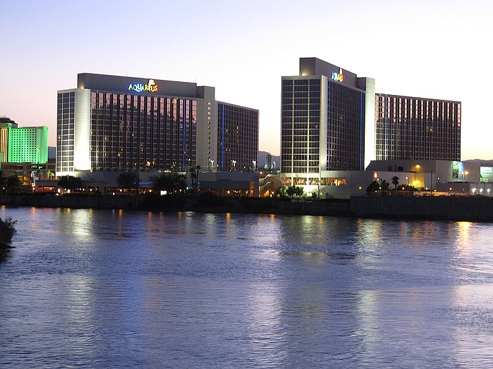 Casinos in Nevada, like the Aquarius in Laughlin, may see an influx of competition for sports bets as a dozen states could see legalization by the end of the year. (Photo by Ken Lund, cc-by-sa-2.0, https://bit.ly/2KzPxv0)