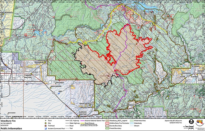 A map of the fire line from a human-caused wildfire burning in the Tonto National Forest, which has grown to more than 96,000 acres, or about 150 square miles. (Tonto National Forest/Courtesy)