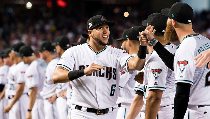 Ketel Marte had two hits for his seventh consecutive multi-hit game Monday night as the D-backs knocked off the Dodgers 8-5 at Chase Field. (File photo courtesy of Sarah Sachs/Arizona Diamondbacks)