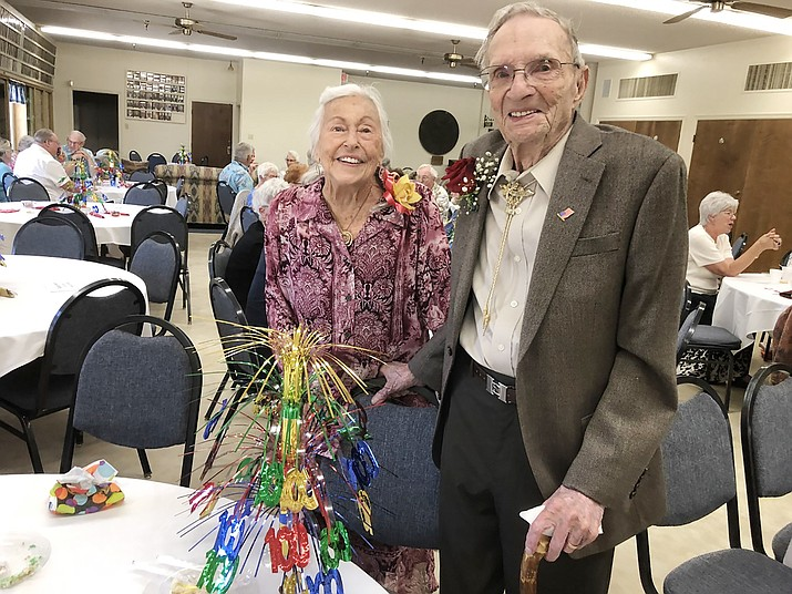 Everett Jenks poses with his wife of 74 years, Charlene, both of Chino Valley at Jenks' birthday party. Jenks turned 100 years young on Thursday, May 30, 2019. (Courtesy)