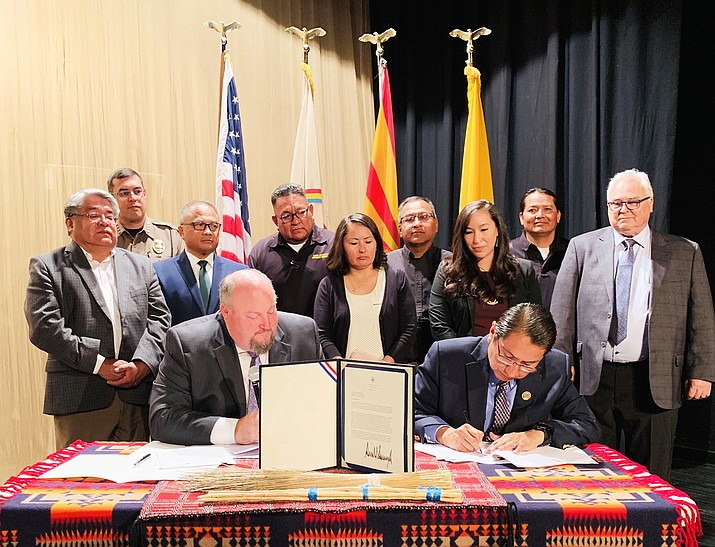 Navajo President Jonathan Nez signs an agreement with FEMA June 10 in Window Rock. (Photo/OPVP)