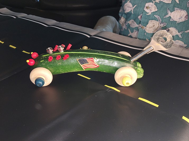 Several Master Gardeners met in late May to try their hands at making zucchini race cars in preparation for the inaugural Zucchini Car Contest taking place Sept. 7 at the Yavapai County Fair. Here are a few examples of their creative endeavors. (Prescott Master Gardeners/Courtesy)