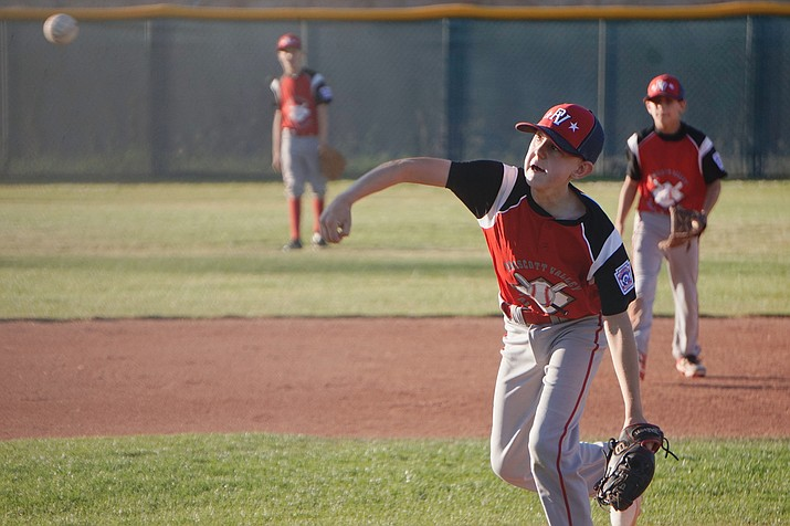 Prescott Valley starting pitcher Connor Wallace throws a pitch in the District 10 11U All-Stars Tournament championship game Monday, June 24, 2019. Prescott Valley won 13-12, forcing a second title game tonight in the double-elimination tournament. (Aaron Valdez/Courier)