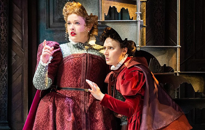"""Complete with a luxurious paneled Elizabethan set, exquisite traditional costumes, and a contemporary-meets-renaissance musical score, """"The Taming of the Shrew"""" is a joyous and entertaining production of Shakespeare's fierce comedy of the sexes."""