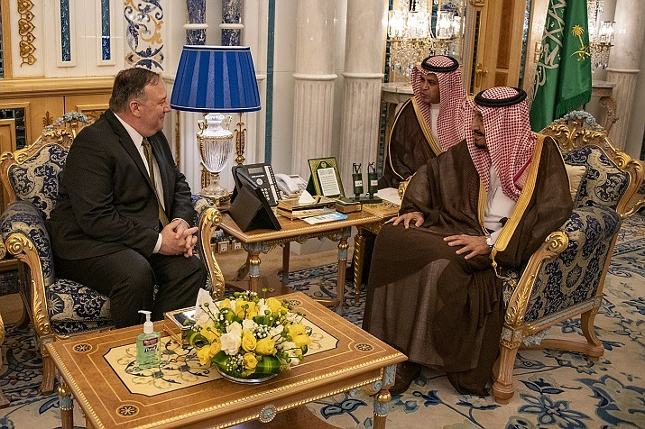 Secretary of State Mike Pompeo meets with King Salman bin Abdulaziz Al Saud at the Royal Court at al-Salam Palace, in Jeddah, Saudi Arabia on June 24, 2019. [State Department Photo by Ron Przysucha/Public Domain]