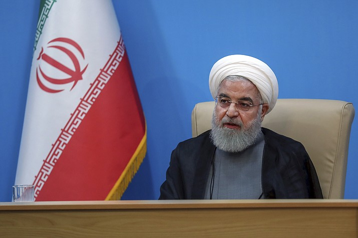 "In this photo released by the official website of the office of the Iranian Presidency, President Hassan Rouhani attends a meeting with the Health Ministry officials, in Tehran, Iran, Tuesday, June 25, 2019. Iran on Tuesday sharply criticized new U.S. sanctions targeting the Islamic Republic's supreme leader and other top officials, saying the measures spell the ""permanent closure"" for diplomacy between the two nations. (Iranian Presidency Office via AP)"