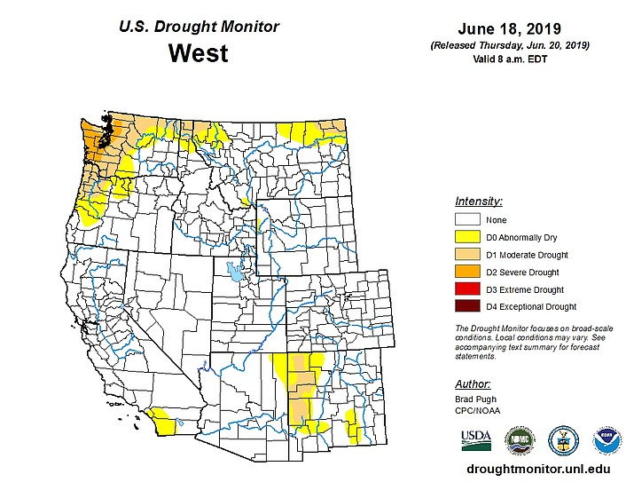 Map Shows Arizona Free Of Short Term Drought Williams Grand - Grand-canyon-on-a-us-map