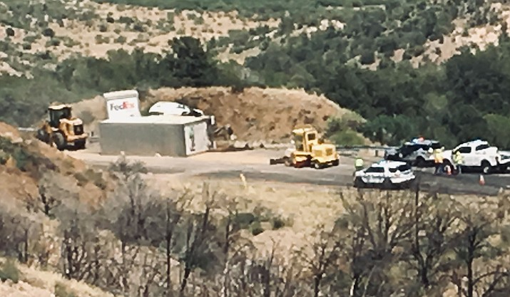 An overturned FedEx truck is responsible for the traffic delays in the Northbound lane of Interstate 17 near Camp Verde. VVN/Vyto Starinskas