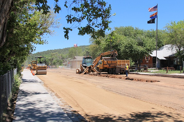 City staff replace a section of road on Grant Street June 20. The city of Williams continues street repairs with recently purchased equipment as the weather remains favorable. (Wendy Howell/WGCN)