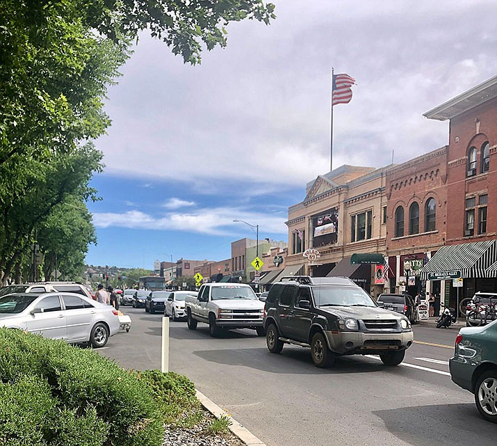 Downtown Prescott's busy intersection at Gurley and Montezuma causes traffic faces a number of traffic challenges. The Prescott City Council discussed ways of improving the traffic flow on Tuesday, June 25. (Cindy Barks/Courier)