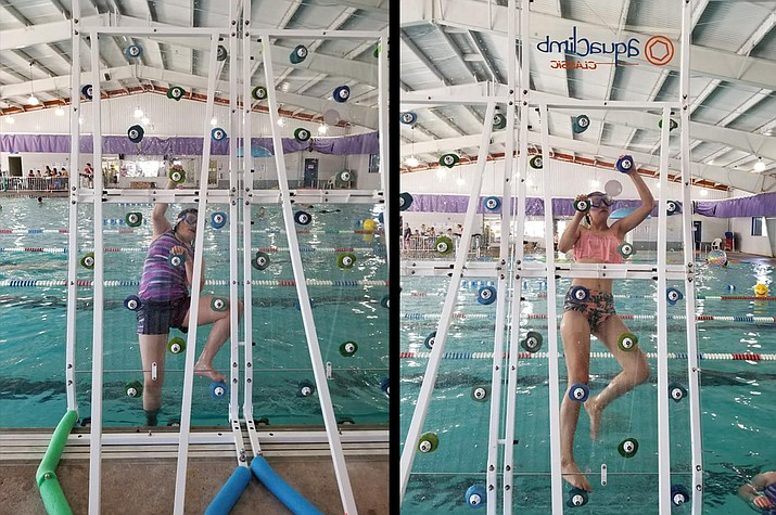 Swimmers enjoy the climbing wall at the Williams Aquatic Center. (Williams Rec Center/photo)